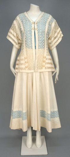 Linen and Lace Ensemble (Jacket, Shell Blouse, and Skirt), ca. 1912 via Whitaker Auctions