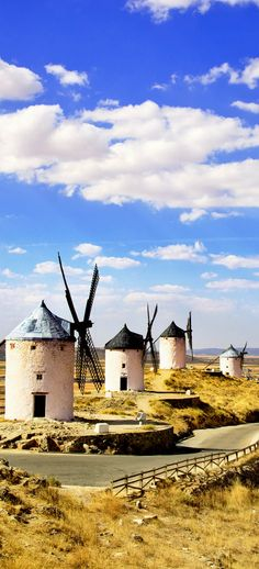 Windmills in Castile La Mancha, the largest wine region in Spain