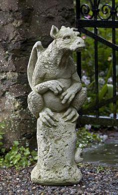 Campania International Emrys The Gargoyle Cast Stone Garden Statue - Garden Statues at Hayneedle Dragon Statue, Dragon Art, Stone Garden Statues, Gothic Gargoyles, Dragons, Gothic Garden, Cast Stone, Green Man, Magical Creatures
