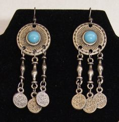 Oorbellen Faraonisch, tribal ZILVER TURQUOISE met muntjes  - Earrings Pharaonic Tribal Fusion style SILVER TURQOUISE with coins