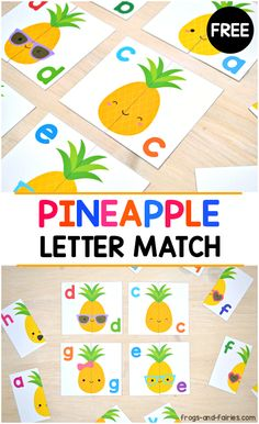 This set of Pineapple Letter Matching cards with adorable pineapples is a great way for kids to practice lower case letter recognition! #alphabet #printablesforkids #lettermatch #freeprintablesforkids