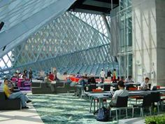 Seattle Public Library, Washington USA - architects Rem Koolhaas and Joshua Prince-Ramus Rem Koolhaas, Seattle Central Library, World Organizations, Covered Walkway, Interior Design Sketches, Old Abandoned Houses, Washington Usa, Famous Architects, Library Design
