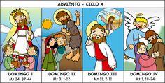 Cuatro domingos de Adviento - CICLO A           El tiempo de Adviento prepara a la Iglesia para conmemorar la venida histórica de Jesús, el ...