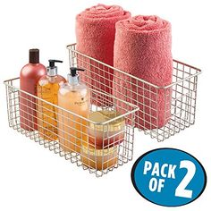 mDesign Wire Storage Basket for Bath Towels, Shampoo, Hea...