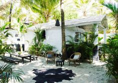 French fashion designer Laurence Doligé's beachfront bungalow in Goa, India.
