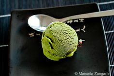 Matcha Ice Cream by manusmenu as adapted from Just One Cookbook: Beautiful and refreshing! #Ice_Cream #Matcha #Green_Tea