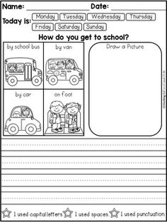 FREE 10 Kindergarten Writing Prompts with 2 option (A total of Pages). With sentence starters and without sentence starters for advance writers. This pack is great for beginning writers or struggling writers in kindergarten and in first grade to bu Kindergarten Writing Prompts, Daily Writing Prompts, Persuasive Writing, Kindergarten Literacy, Teaching Writing, Writing Skills, Opinion Writing, Sentence Writing, Informational Writing