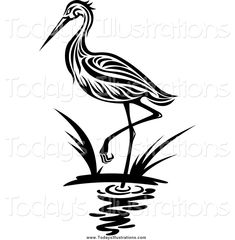 Illustration of Heron bird in silhouette style for environment design vector art, clipart and stock vectors. Silouette Art, Bird Silhouette Art, Silhouette Vector, Bird Stencil, Stencil Art, Star Stencil, Stencil Patterns, Stenciling, Free Vector Illustration