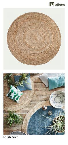 alinea :  rush text tapis rond en jute d120cm   décoration maison et objets décoration tapis   - #Alinea #Décoration #Tapis - inspiration meubles et déco