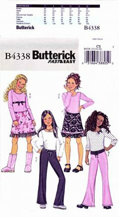 Butterick Sewing Pattern 4338 Girls Size 12-14-16 Easy Pullover Long Sleeve Top A-Line Skirt Pants