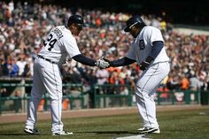 Miguel Cabrera celebrates with Prince Fielder after Fielder hit a two run homer in the seventh inning.