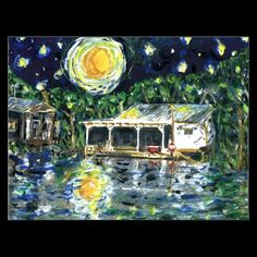 Starry Night River Camp Postcards