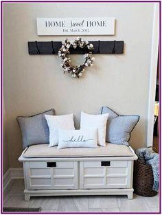 Home sweet home sign est year reclaimed wood established sign long sign . Rustic Entryway, Entryway Decor, Entryway Bench, Entryway Ideas, Foyer, Hallway Ideas, Home Living Room, Living Room Designs, Sweet Home