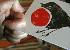 Robin Lino Block Printing for a Card