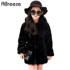 >> Click to Buy << Size 130-160 12 years teenage girls clothing 2017 Winter new fashion black/beige quality girls faux fur coat hooded long coats #Affiliate