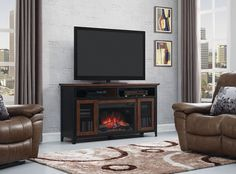 Real Flame Valmont Chestnut Oak 75.5 in. L x 21.5 in. D x 27.7 in ...