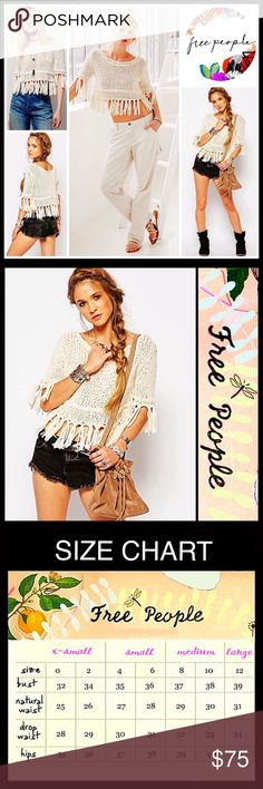 """⭐️⭐️ Free People Boho Tassel Fringe Pullover RETAIL PRICE $108 SIZING- M = 8-10, L = 12-14 💟 NEW WITH TAGS 💟 Free People Boho Tassel Fringe Pullover * Super soft fabric * Relaxed, loose knit slouchy pullover, & oversized style * Boatneck; Elbow length sleeves * Tassel Fringe trim  * Approx 25"""" Long  Fabric: 100% cotton Color: Ivory Item# SEARCH# embellished waffle cable knit Pom  🚫No Trades🚫 ✅ Offers Considered*✅ *Please use the blue 'offer' to submit an offer Free People Tops Crop Tops"""
