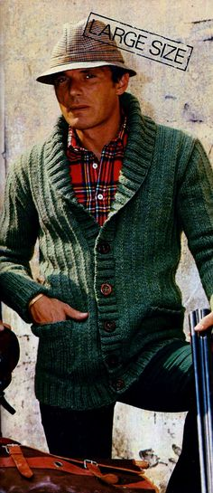 Men's Shawl Collar Front Buttoned Cardigan Sweater PDF Vintage Knitting Pattern