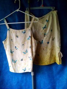 Tommy Bahama Women's 2 piece Skirt/Top Set 100% Silk Size 8-10 Green Floral  #TommyBahama #SkirtSet