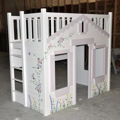 playhouse bed | Mindy Bunk Bed - Hand Painted w Optional Built In Ladder