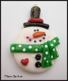 Round Snowman in Green Scarf Polymer Clay by michellesclaybeads