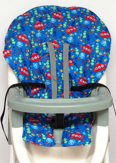 Graco ship ready high chair replacement cover, pad, cushion, something fishy by sewingsilly on Etsy https://www.etsy.com/listing/242312681/graco-ship-ready-high-chair-replacement