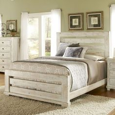 Distressed White Stained Wooden Master Bed With Ladder Headboard And Footboard In Khaki Painted Wall Bedroom