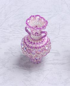 Beaded decorative vase chevron pattern pink by ChikaBeadwork