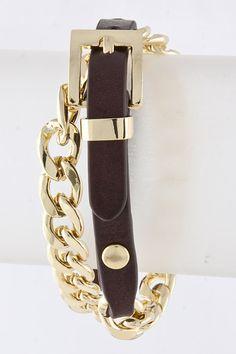 Coffee Leather Belt Bracelet on Emma Stine Limited
