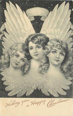 Free Download :: Vintage Angels Christmas postcard c.1904
