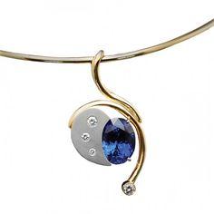 Tanzanite and diamond pendant in gold by Gordon Aatlo