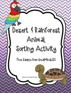 Desert and Rainforest Animal Sorting Activities - Use with habitats unit to have students sort animals by their habitat Free