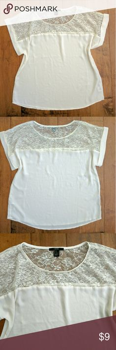 F21 lace chiffon shirt NEVER BEEN WORN! flowy lace shirt Forever 21 Tops Blouses