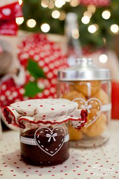 Glass jars for jam and cookies