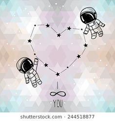 cute doodle astronauts couple and heart formed constellation on trendy geometric background, cosmic card for valentine's day, vector illustration - stock vector Astronaut Tattoo, Astronaut Drawing, Astronaut Illustration, Cute Illustration, Background Drawing, Geometric Background, Bellet Journal, Outer Space Wallpaper, Valentines Day Drawing