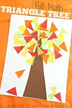fall tree shape kids crafts - crafts for kids- kid crafts - acraftylife.com #preschool