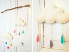 Kostenlose Anleitung: Wolken-Mobile selber basteln / free diy tutorial: how to craft a mobile in shape of a cloud with little cute raindrops via DaWanda.com