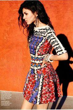 Patterned High Neckline Dress