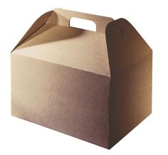 9 1/4 x 6 1/4 x 6 3/4 Kraft Barn Take Out Box with Handle 50/CS