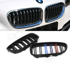 88.00$  Watch now - http://ali8b8.worldwells.pw/go.php?t=32371442095 - Dual Slats ABS Front Grille For BMW 5 M Series F10 / F10 M5 2010 2011 2012 2013 2014 2015 - on Glossy Black Finish M Look 88.00$