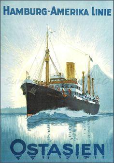 Ostasien Munsterland 1922  Hamburg America Line http://stores.ebay.com/Vintage-Poster-Prints-and-more