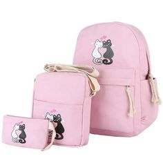 3 piece Kitty Kat Cat Canvas Purse Backpack School Bag Set For Girls  Available i Canvas 1ccf42aedf958