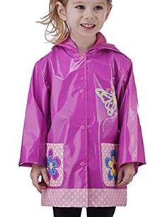 Little Girls Pink Flower Raincoat. * Details can be found by clicking on the image. (This is an affiliate link) #RainWear
