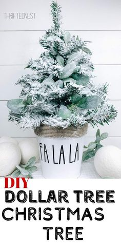 dollar tree crafts Heres an easy dollar tree christmas craft. Transform a mini christmas tree into a gorgeous piece of dollar tree decor. Whether youre looking for alternative Christ Flocked Christmas Trees, Dollar Tree Christmas, Merry Christmas, Christmas Holidays, Christmas Decorations, Farmhouse Christmas Trees, Mini Christmas Tree Decorations, Teal Christmas, Dollar Tree Fall
