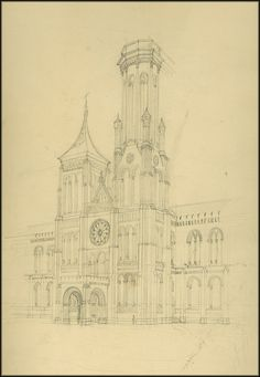 drawing of the North Tower by James Renwick, Jr.