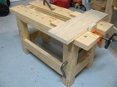 Saw bench with a pipe clamp vise.