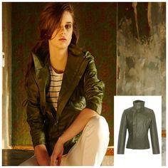 Louise Faux Leather Biker Jacket Olive