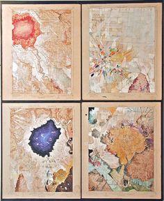 Josh Dorman, 'Four Fleurs', acrylic Aerial Arts, Panel Art, Cartography, Worlds Of Fun, Vintage World Maps, Art Life, Watercolor, Abstract, Geology