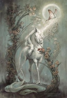 "Unicorn by Jennifer L. Meyer ""A pin up of The Last Unicorn done for IDW's Graphic Novel.  I based her on a cross between a horse and a deer and the set up is Mucha inspired."""