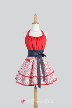 Flirty Chic Apron . Red and Gray Floral Fabric Flirty Skirt Cute and Sexy Retro Womens Apron Cute Flirty Chic Apron by CreativeChics on Etsy https://www.etsy.com/listing/217280532/flirty-chic-apron-red-and-gray-floral